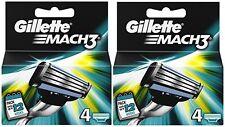 2 x 4 Pack = 8 Genuine Gillette Mach3 Replacement Razor Blades - Mach 3