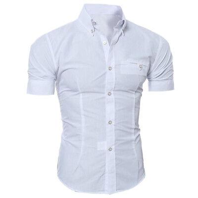 Fashion Men Slim Fit Button Down Shirt Short Sleeve Casual Summer T-shirts Tops