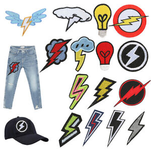 Lightning Bolt Patch for Clothing Boys Embroidered Patch Clothes Badges DIY Hot