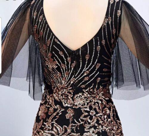 Black Mesh /& Gold Floral Sequin Embellished Mermaid Dress Evenning Wear