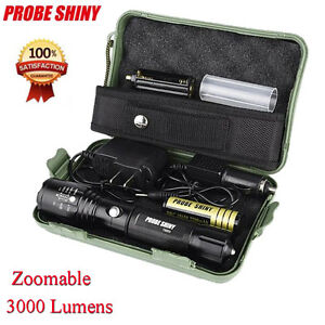 Zoomable 5000LM Lamp XM-L T6 LED Tactical Flashlight Torch Light 18650 Charger