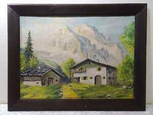 Dipinto Quadro a Olio - Alpi Montagne Case - Vintage - Autografato
