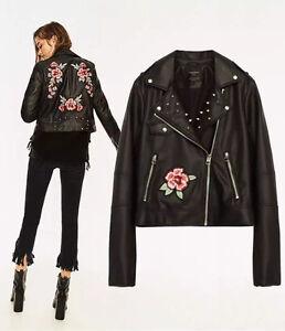 Womens Rivets Pu Leather Flower Embroidery Moto Biker Leather Jacket