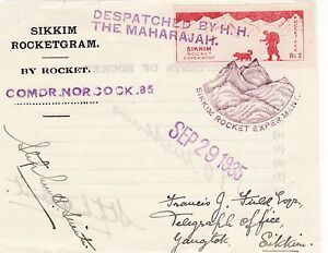 X119-Rare-Enveloppe-SIKKIM-ROCKET-EXPERIMENT-de-Septembre-29-1935-ROCKETGRAM