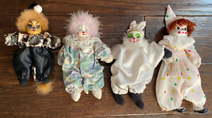 Lot-of-4-Small-Vintage-Porcelain-Face-Clowns-Artmark-Lion-VGUC
