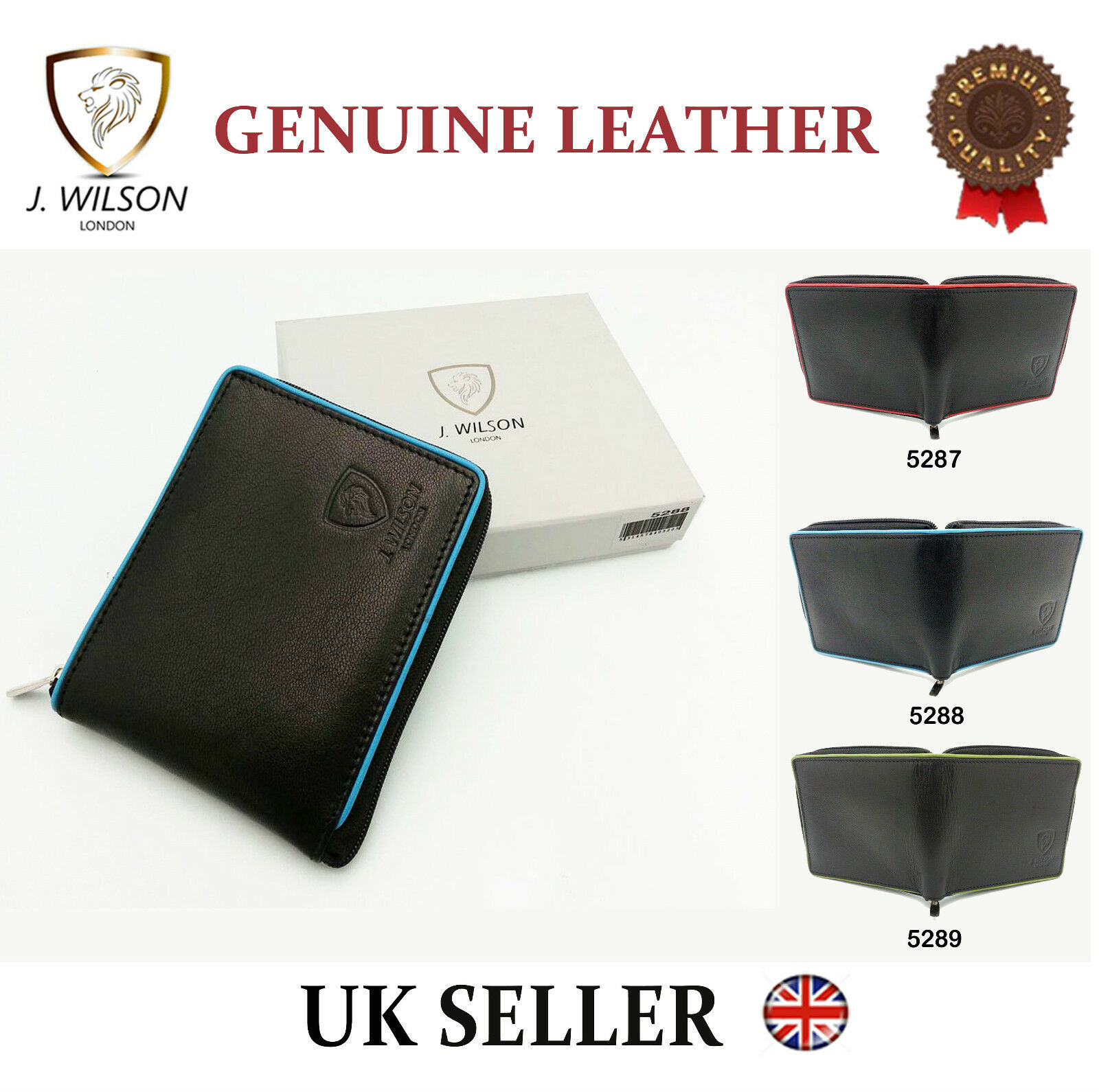 Designer J Wilson Real Genuine Mens High Quality Leather Man Card Wallet Purse