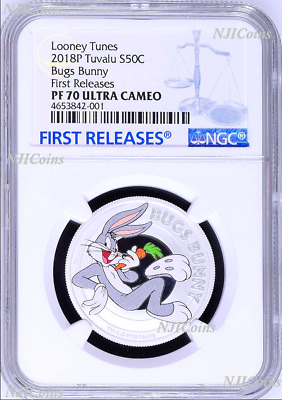2018 TUVALU Looney Tunes DAFFY DUCK Silver Proof NGC PF70 Half Dollar Coin ER