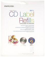 Memorex CD/DVD Labels 50 -Pack, Matte White, New, Free Shipping