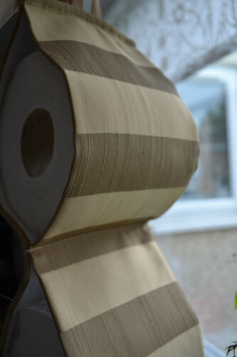 Fabric Toilet Rolls Holder GOLD at the wall for 2 rolls// handmade .