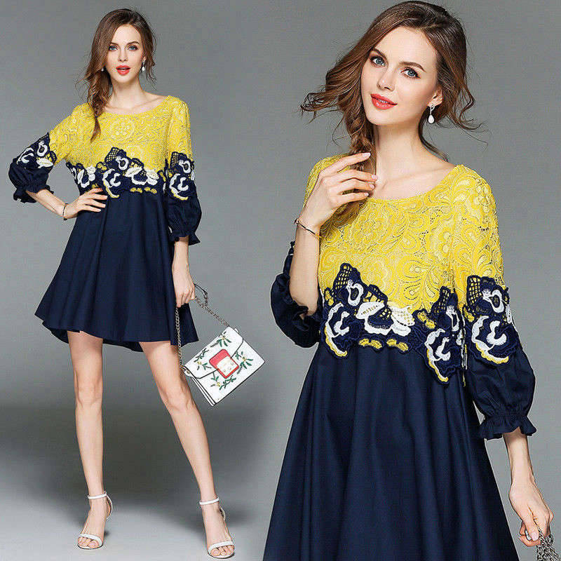 Casaul Spring Women's Lace Hollow 3 4 Sleeves Elegant Round Collar A-line Dress
