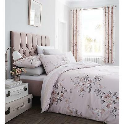 Catherine Lansfield Canterbury Blush Glitter Floral Quilt/Duvet Cover Collection