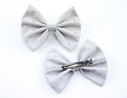 Grey and Metallic Silver Heart Printed Medium Fabric Hair Bow
