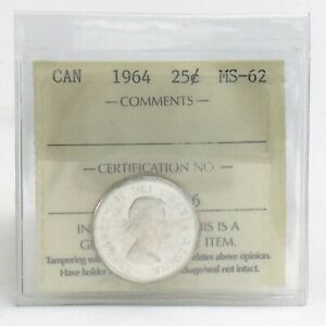ICCS-Graded-Mint-State-62-Canada-1964-Twenty-Five-25-Cent-Quarter-Coin-I886