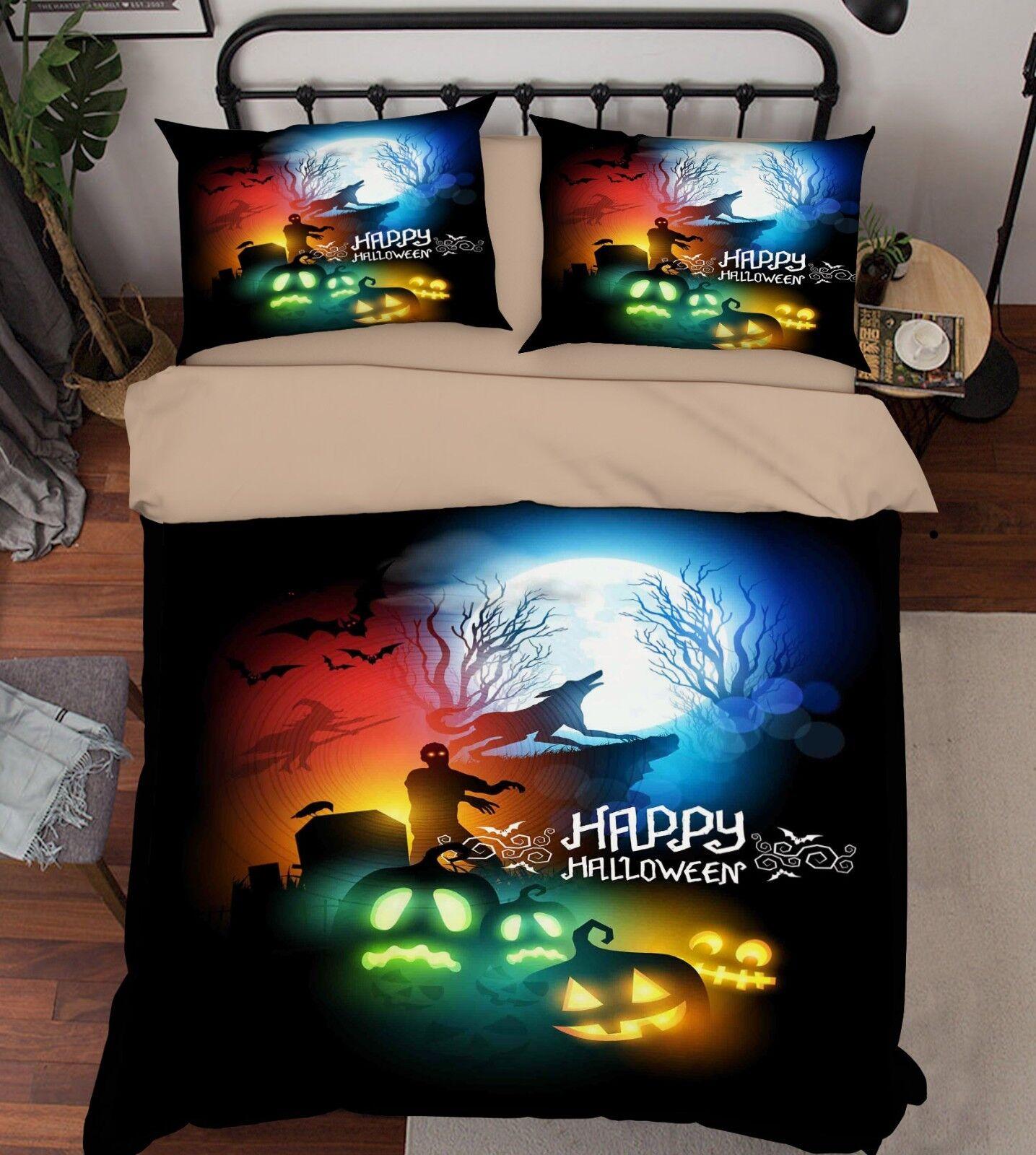 3D Halloween 371 Bed Pillowcases Quilt Duvet Cover Set Single Queen King Size AU