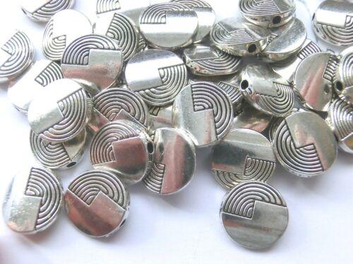 10 spacer 12x3mm moneda disco plano metálico color de perlas Antik plata #s016