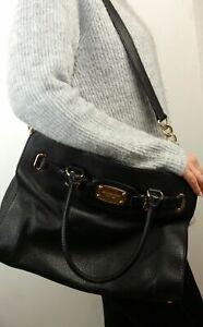 Details zu Michael Kors Hamilton Tasche Handtasche Leder Schwarz Goldfarben MK