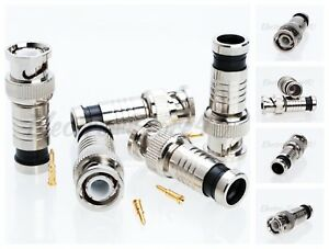 BNC Compression Connector For RG6 RG59 Security Coaxial Cable CCTV Male Lot
