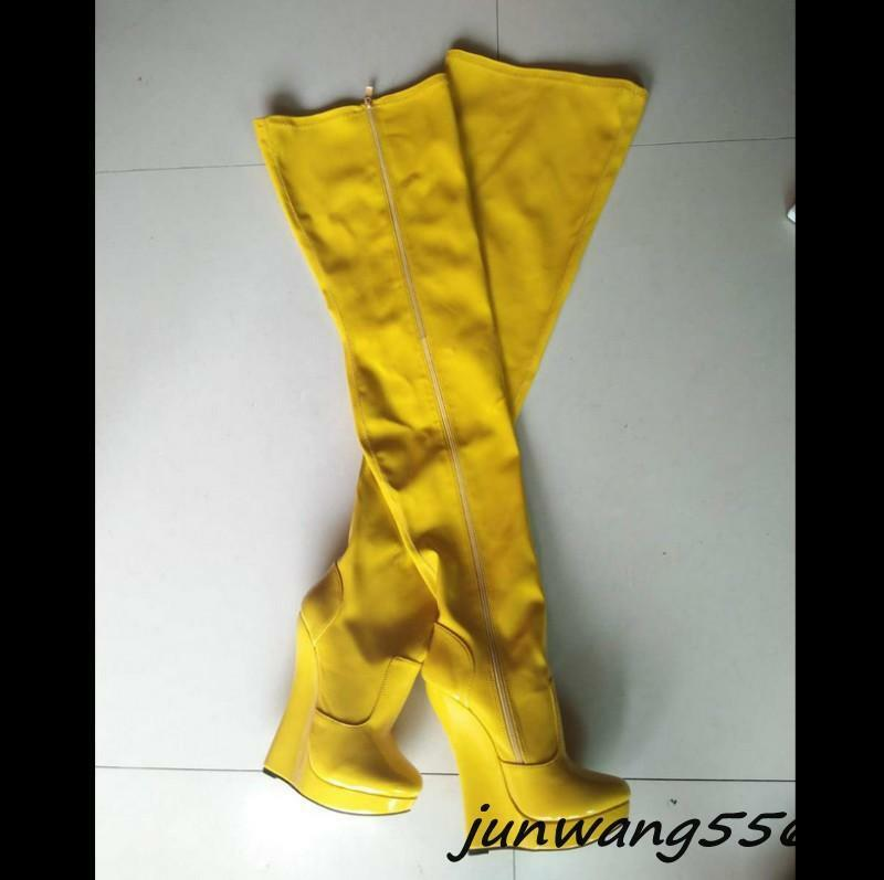 Original Damen Schuhe Stiefel Overkneestiefel Keilabsatz Keilabsatz Overkneestiefel Bühnenschuhe high heels 1f2a36