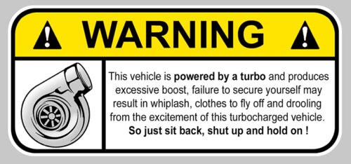 WA017 TURBO FUNNY WARNING DANGER BOOST JDM AUTOCOLLANT STICKER 12cmX5,5cm