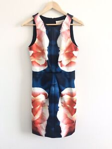BNWT-Keepsake-The-Label-Dress-Size-8-Sml-Chained-Navy-Floral-Print-Pencil-Dress