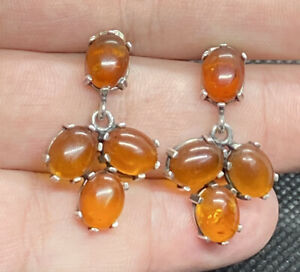 Vintage-Sterling-Silver-925-amp-Baltic-Amber-Pronged-Post-Pierced-Dangle-Earrings