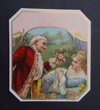 Ancienne étiquette BOITE DE CIGARE 2892 scène galante old box cigar label