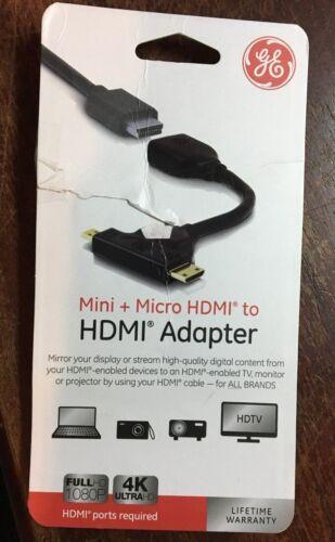 GE Mini HDMI Micro HDMI to HDMI Adapter 33587