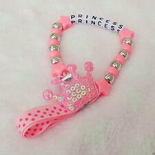 Personalizzato Bellissimo Crown rosa Catenella Ciuccio Catena Qualsiasi Nome per