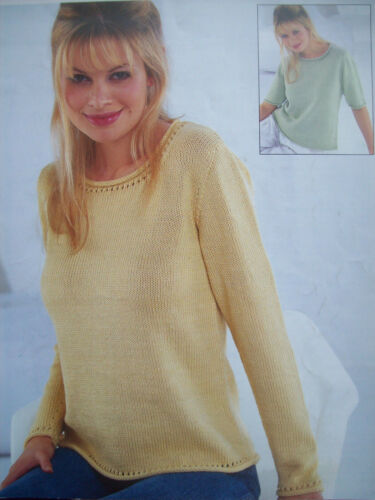 Ladies SUMMER TOP TUNIC JUMPER KNITTING PATTERN cotton DK /& 4 ply 30-42 inch