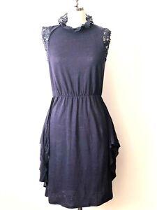 0524029981 Rebecca Taylor Sz S Blue Linen Shift Dress Sleeveless Crochet Mock ...
