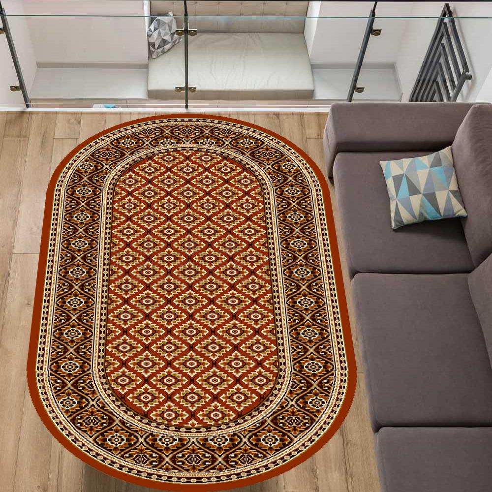 TAPPETO OVALE 100 x 180 ROSSO-terra classico Oriental bordatura soggiorno