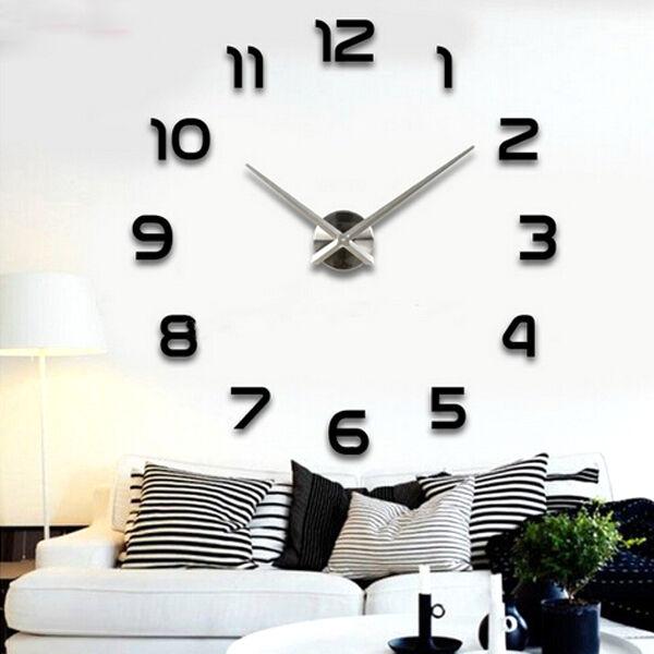 Hot Modern Art Diy Large Wall Clock Sticker Kit Design Home Office Room Decor Gl 1 Black Ebay