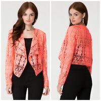 Bebe Coral Crochet Lace Long Sleeve Jacket $129 Xxsmall Xxs 00