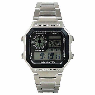 Casio AE-1200WHD-1AV Men's Illuminator Stainless Steel World Time Digital Watch