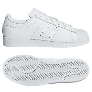 Details about ADIDAS ORIGINALS JUNIORS ALL WHITE SUPERSTAR TRAINERS SHOES UK SIZE 3 4 5 5.5