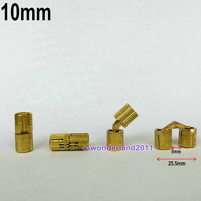 4x Hidden Hinge Invisible Hinge Barrel Concealed Hinge 8/10/12/14/16/18mm  BRASS
