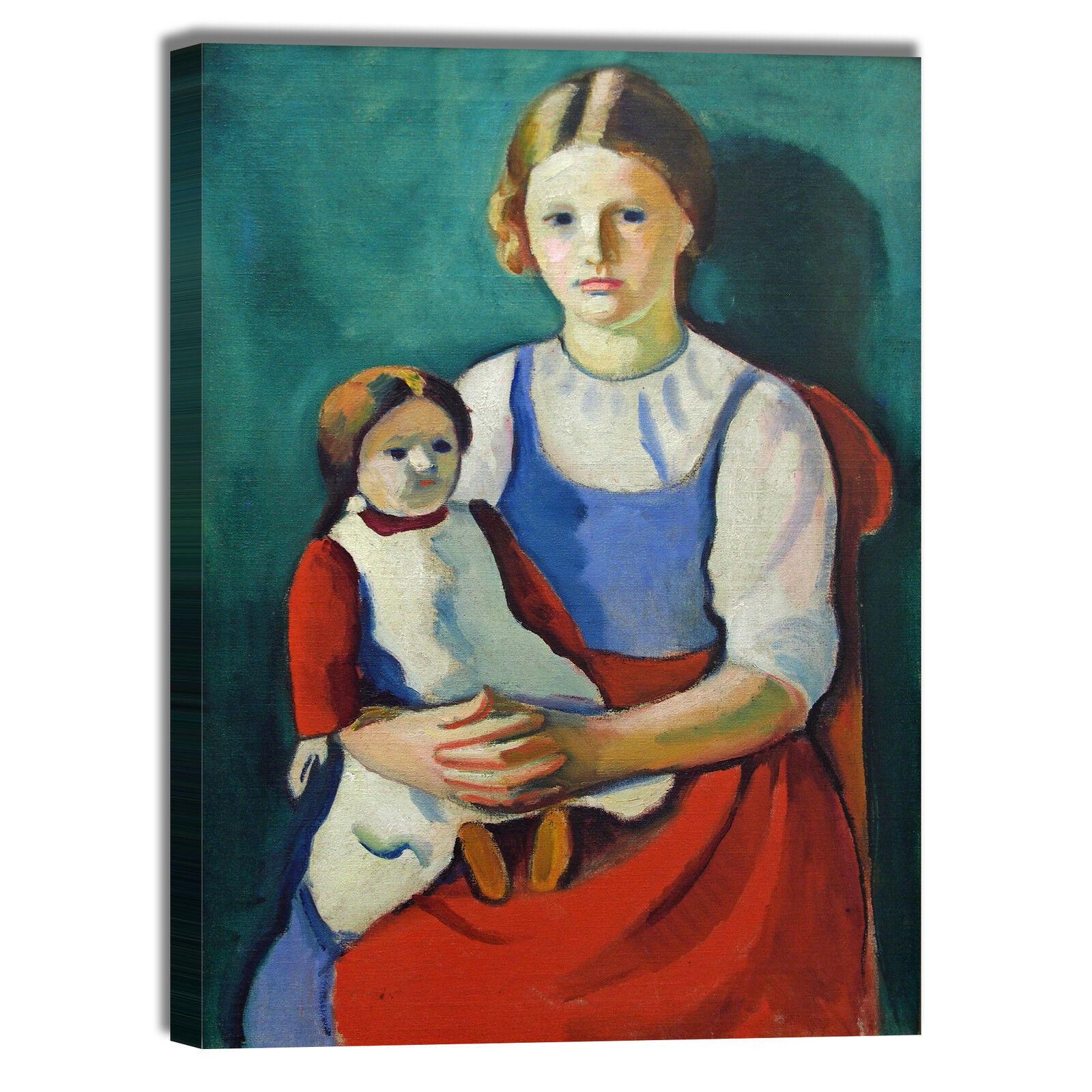 Macke ragazza con bionda con ragazza bambola quadro stampa tela dipinto telaio arRouge o casa 562a7c