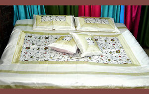 White-Silk-Bed-Cover-Sheet-pillow-set-hand-embroidered-full-Queen-from-India