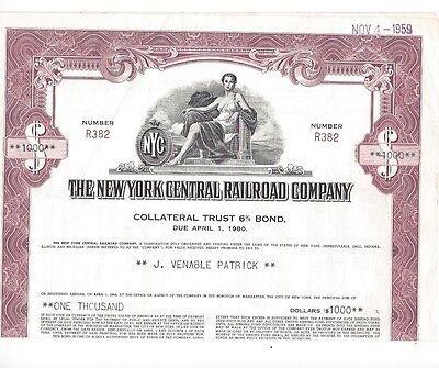6/% Mortgage $1000 bond 1955 New York Central Railroad Company