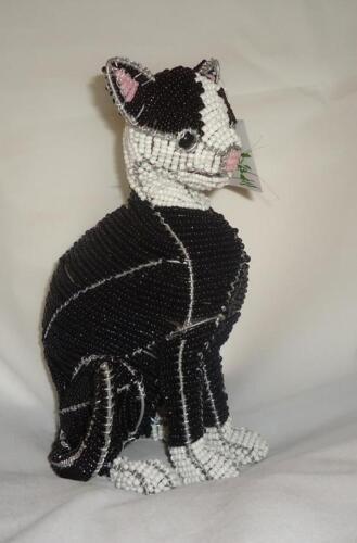 Beadworx Glass Beads NWT Beaded Black /& White Sitting Tuxedo Cat Sherman Retired