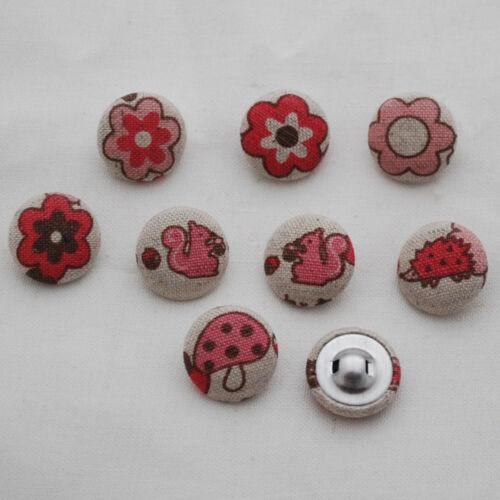 8 Botones De Coser cubierto de tela Ardilla Bosque Rosa