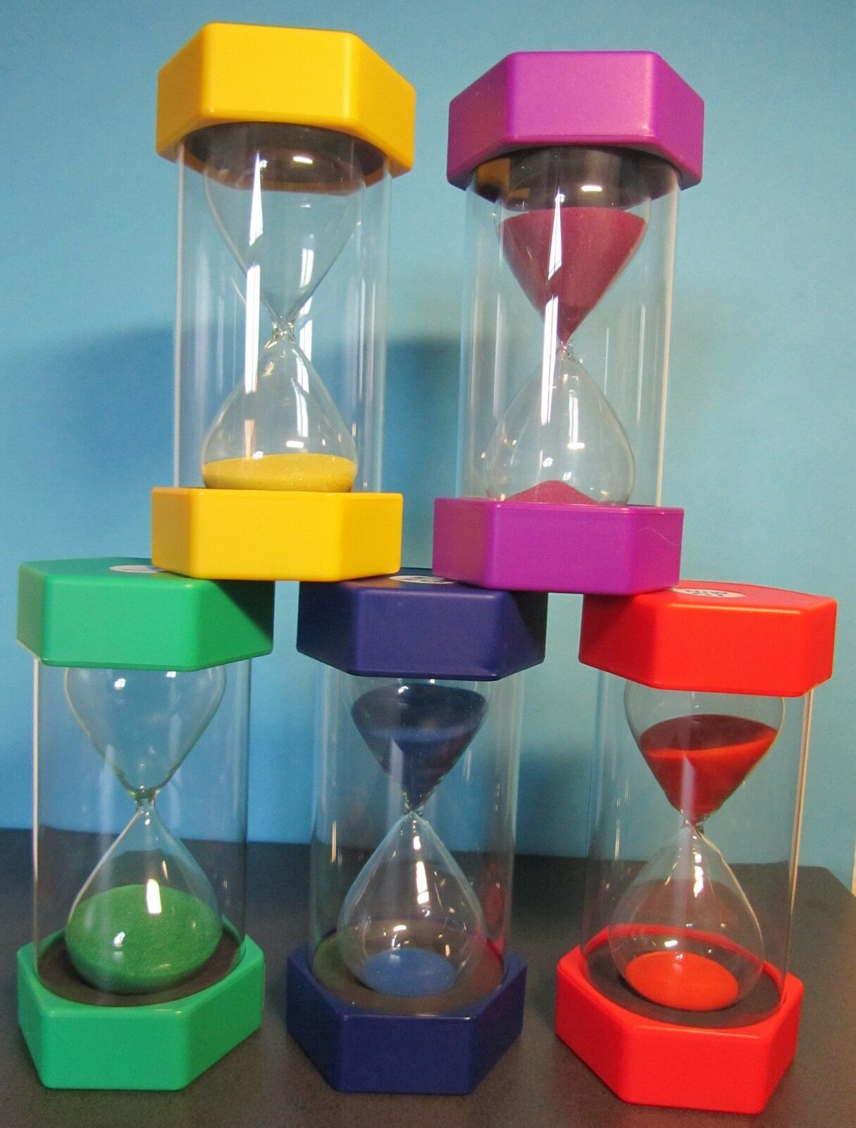 Sanduhr Sanduhren Eieruhren Experimentieren Höhe 16cm 5er Set  5er-Set