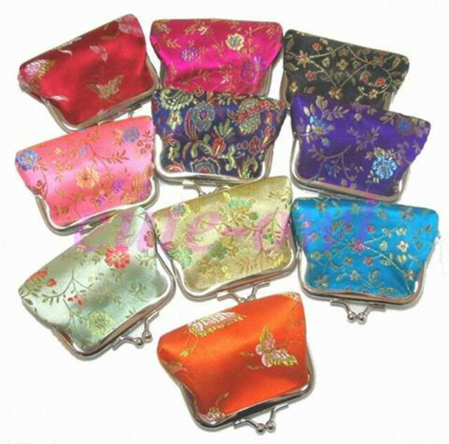 Wholesale 10pcs Chinese Handmade Mix Colors Silk Bag Purse Jewelry Bags Pouches