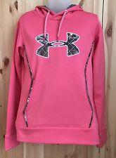 Womens Under Armour UA Pink Camo Hoodie Storm Sweatshirt Pullover SZ Small
