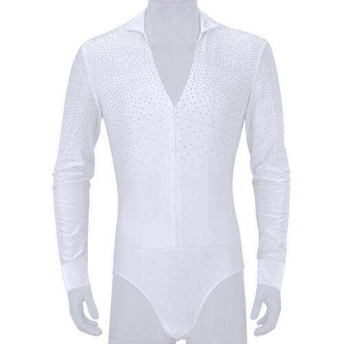 Men Dance Shirt Leotard Bodysuit Ballroom Latin Tango Rumba Tops Stage Jumpsuits