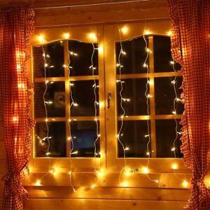 80 Led Lichtervorhang Fenster Lichterkette Eisregen 1 3m Deko