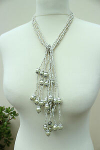 WHITE-SEED-BEAD-amp-Silver-Multi-Strand-NECKLACE-36-034-91-cm