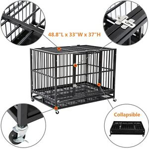 48-034-Heavy-Duty-Dog-Cage-Crate-Kennel-Metal-Pet-Playpen-Portable-w-Tray-New