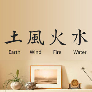 Image Is Loading Earth Wind Fire Chinese Symbol Wall Sticker Art
