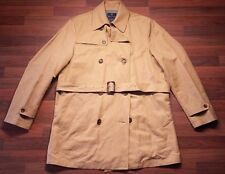 NEW Brooks Brothers Men's Cotton Linen Beige DB Trench Rain Coat Sz Large